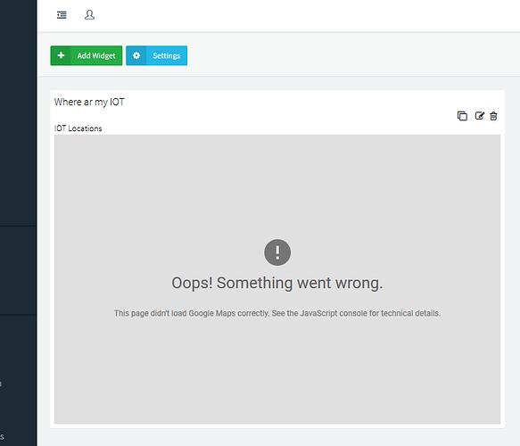 Google Widget not working - The Internet of Thinger